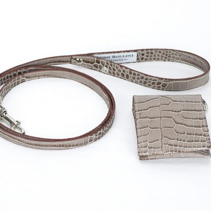 dog leashes printed brown leather