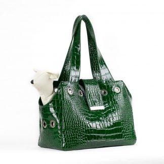 borsa per cani in pelle verde