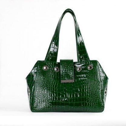 borsa per cani in pelle verde lucida